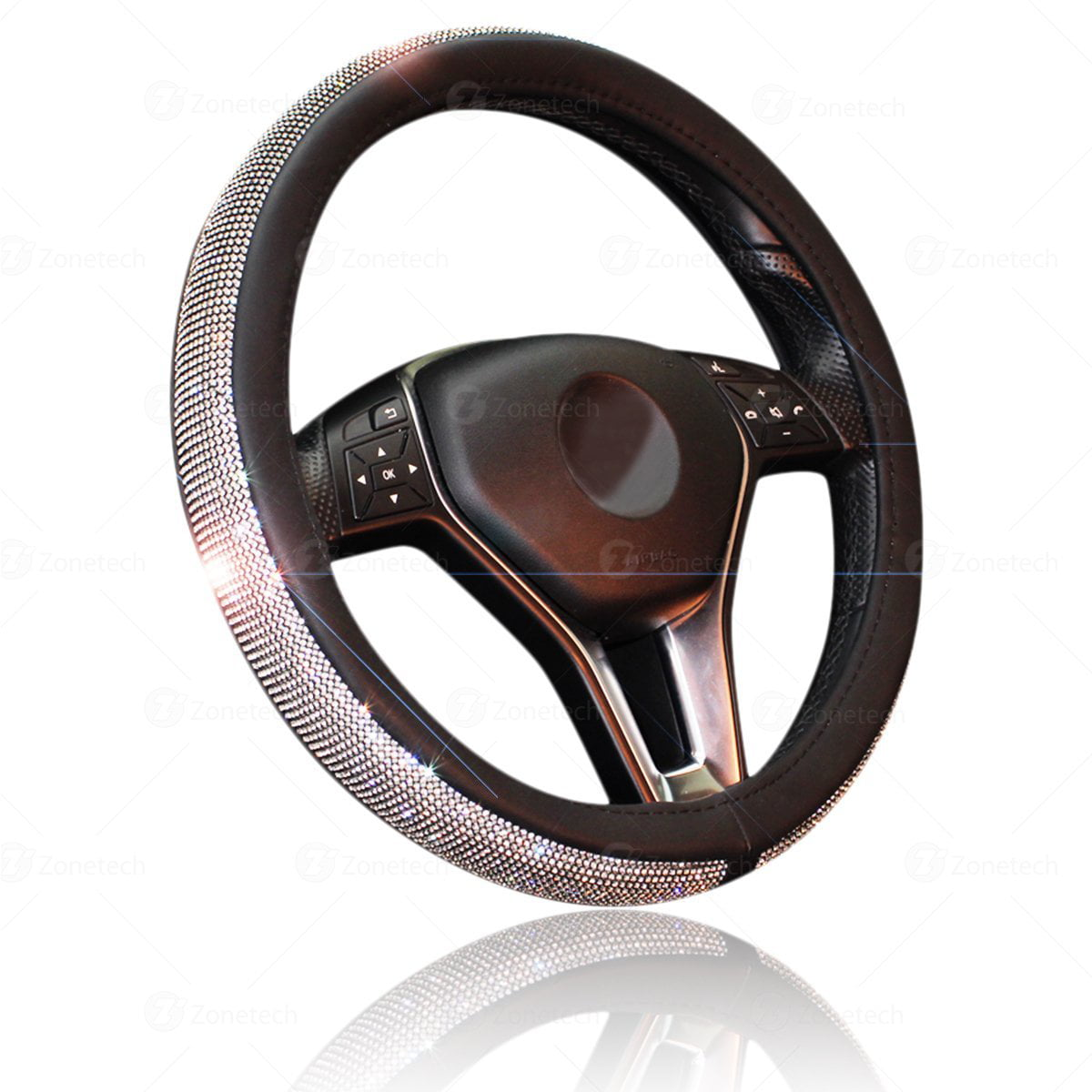 Zone Tech Shiny Bling Steering Wheel Cover Crystal Steering Wheel Cover With Pu Leather Backing Walmart Com Walmart Com