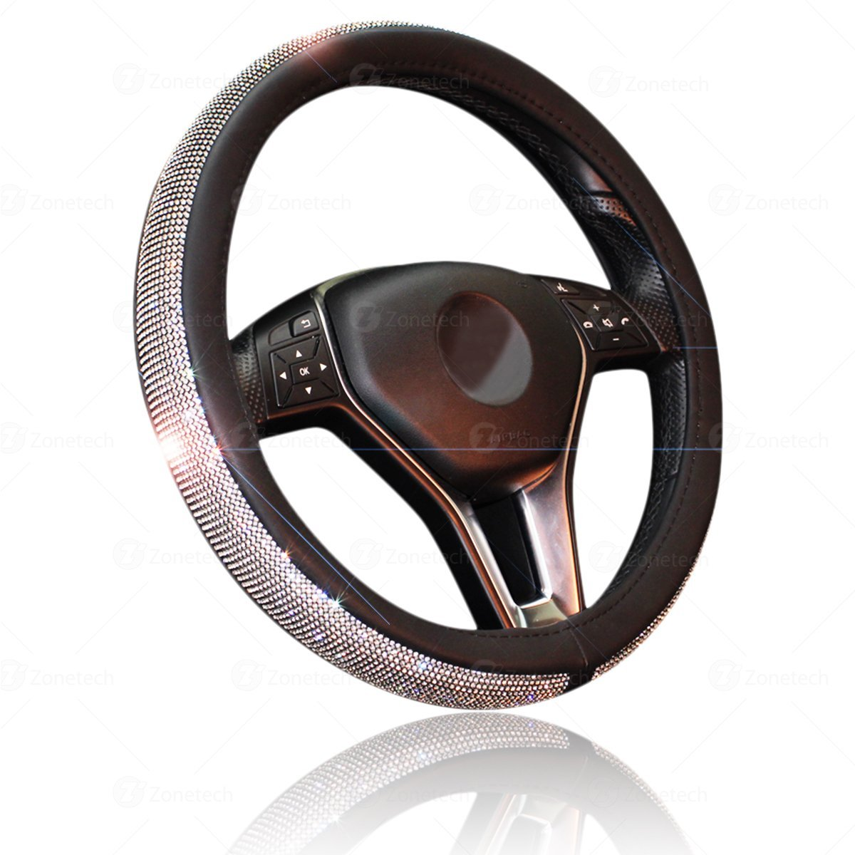 Zone Tech Shiny Bling Steering Wheel Cover -  Crystal Steering Wheel Cover with PU Leather Backing