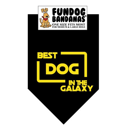 Fun Dog Bandana -Best Dog in the Galaxy - One Size Fits Most for Medium to Large Dogs, black pet (Best Mid Size Dogs For Pets)