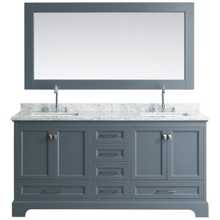 Design Element Omega Grey 72 Inch Double Sink Vanity Set With Mirror