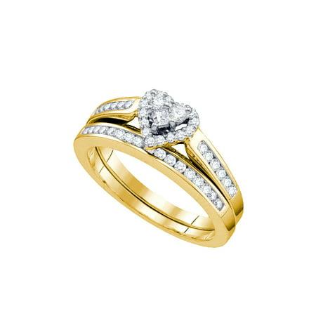 10k Yellow Gold Round Princess Natural Diamond Womens Heart Wedding Bridal Ring Set (.55 cttw.) size- 8.5