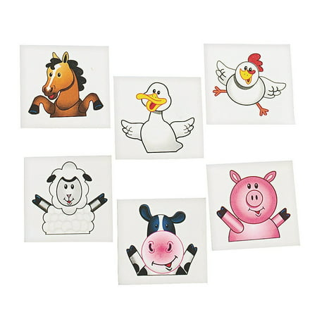 72 FARM ANIMAL/BARNYARD TATTOOS/Cow/DUCK/PIG/SHEEP/HORSE/CHICK/Birthday PARTY FAVORS/6 DOZEN, 72 adorable FARM ANIMAL Temporary Tattoos By FX