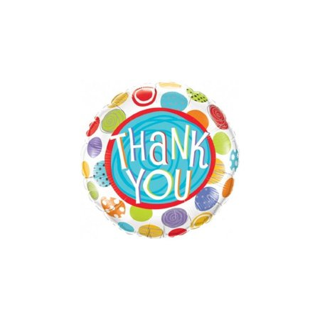 PIONEER BALLOON COMPANY 33354 Thank You Patterned Dots Balloon Pack, 18