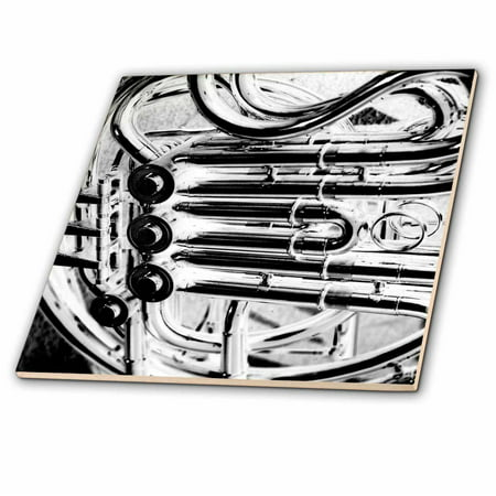 3dRose French Horn Piping Close Up Abstract Music Design Inverted - Ceramic Tile, 6-inch (Fan In The Pipe)