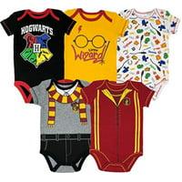 Warner Bros. Harry Potter Baby Boys' 5-Pack Bodysuits Hogwarts Gryffindor (Newborn)
