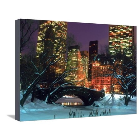 NYC, Central Park Snow and Plaza Hotel Stretched Canvas Print Wall Art By Rudi Von Briel ()
