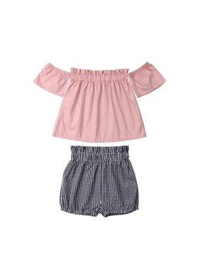 Cute Newborn Baby Girl Summer Outfit Set Clothes Princess Dress+Pants Shorts