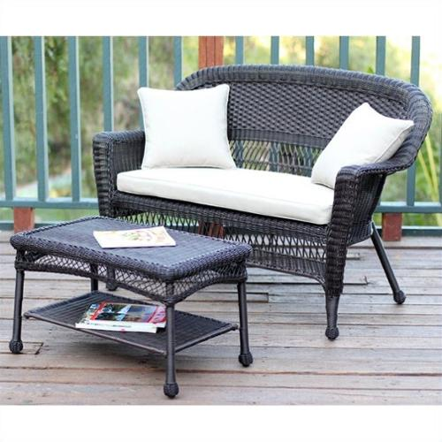Jeco Wicker Patio Love Seat and Coffee Table Set in Espresso with Tan Cushion