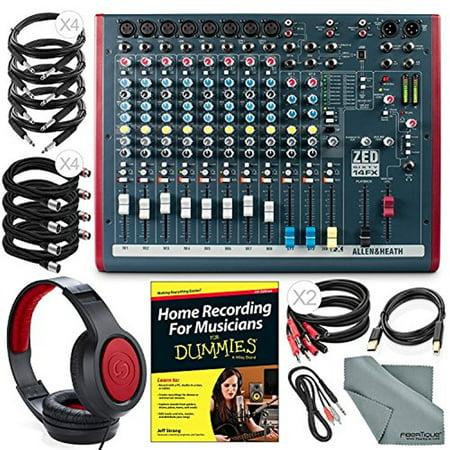 Allen & Heath ZED60-14FX Compact Live & Studio Mixer with Digital FX and USB Port + Deluxe Bundle w/ Headphones, Home Recording for Musicians, Fibertique Cloth, 12X Cables