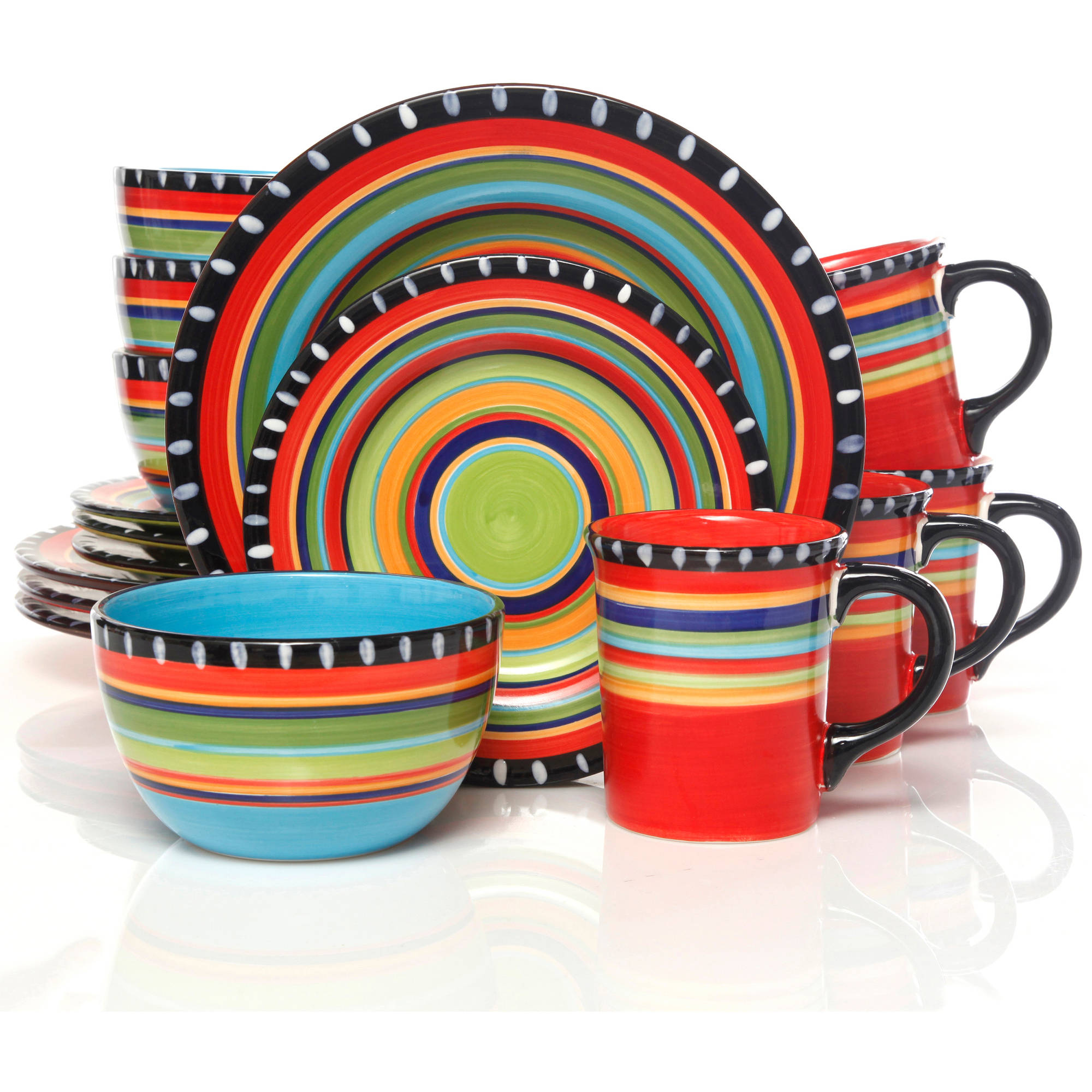 Gibson Home Pueblo Springs Handpainted 16 Piece Dinnerware Set, Multi Color    Walmart.com