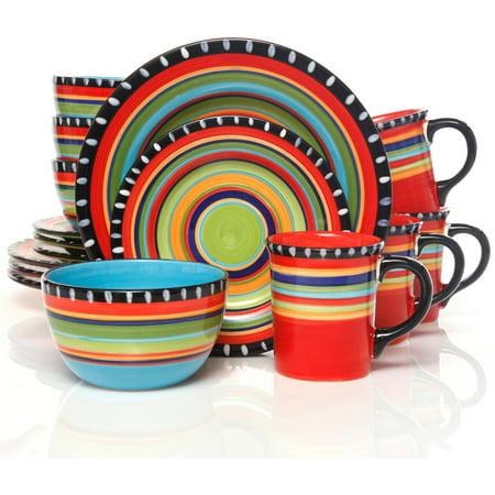 Gibson home pueblo springs handpainted 16 piece dinnerware set multi color - Funky flatware sets ...