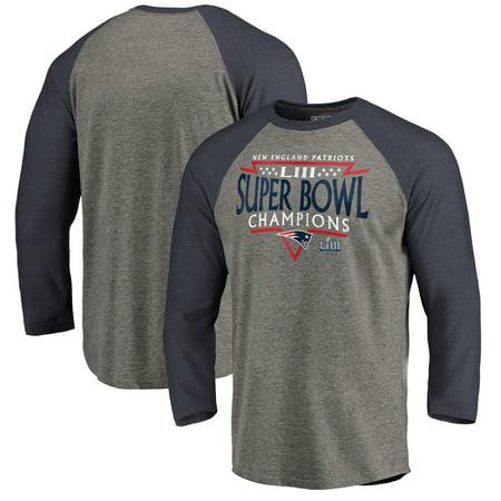 Time Zone Anti Line (New England Patriots NFL Pro Line by Fanatics Branded Super Bowl LIII Champions Neutral Zone Raglan 3/4-Sleeve T-Shirt - Heather Gray/Navy )