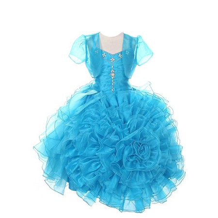 Rain Kids Girls 10 Turquoise Rose Ruffled Corset Organza Pageant Dress](Turquoise Girls Dresses)