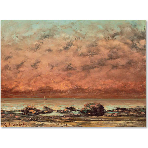 "Trademark Fine Art ""The Black Rocks at Trouville"" Canvas Art by Gustave Courbet"