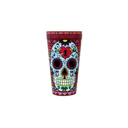 Sugar Skull Keyhole Plastic Tumbler - Skull Halloween Tumblr