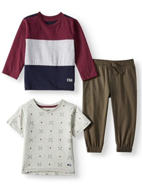 Beverly Hills Polo Club Long Sleeve Colorblock T-shirt, Short Sleeve Print T-shirt & Twill Jogger, 3pc Outfit Set (Toddler Boys)