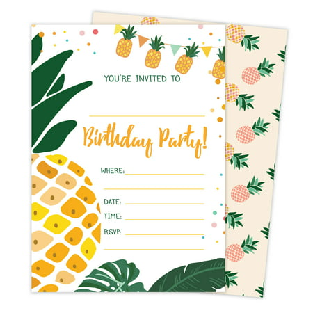 Pineapple Style 3 Happy Birthday Invitations Invite Cards (25 Count) With Envelopes & Seal Stickers Vinyl Boys Girls Kids Party