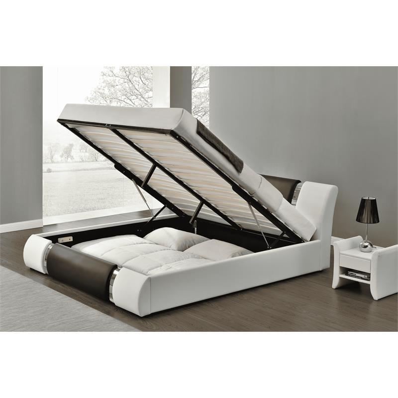 Kingway Furniture Zender Lift Up, White Queen Size Platform Beds With Storage