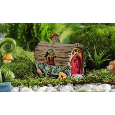 Fairy Garden Log House Covered Wagon House Figurine - Enchanted (Enchanted Fairy Forest)