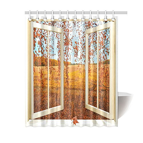GCKG Open Window Overlooking The Autumn Forest Home Decor Polyester Fabric Shower Curtain Bathroom Sets With Hooks 60x72 Inches