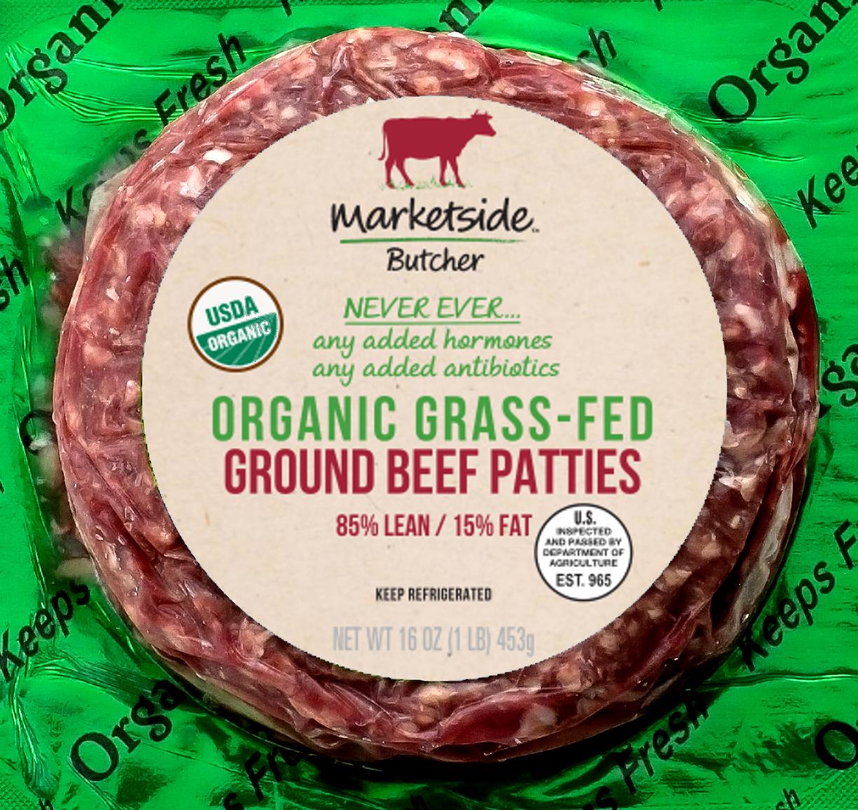 Marketside Organic Grass-Fed 85% Lean/15% Fat, Ground Beef Patties, 4ct, 1 lb