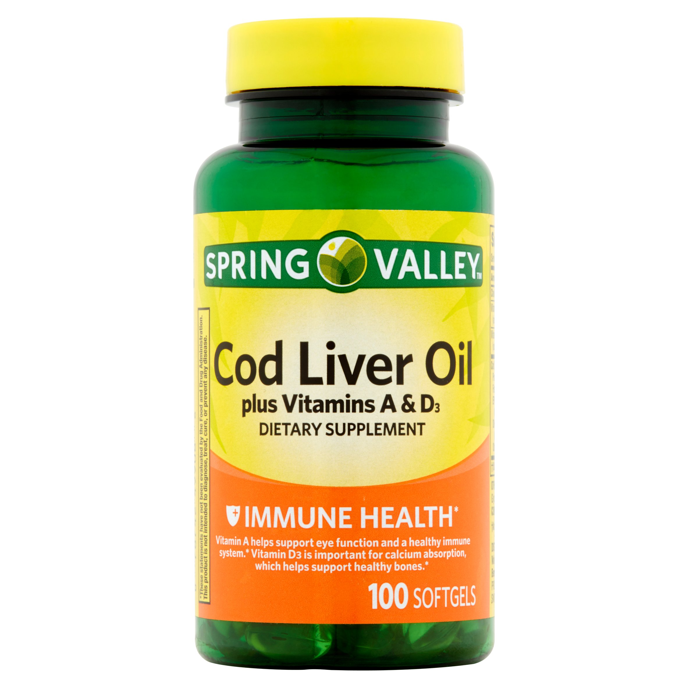 Spring Valley Cod Liver Oil Softgels, 415 mg, 100 Ct