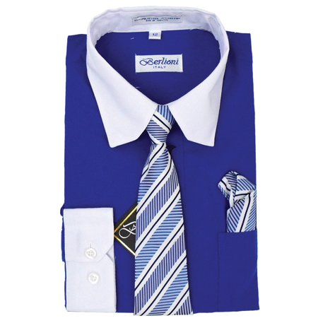 Berlioni Italy Toddlers Boys Kids Long Sleeve Dress Shirt Set With Tie & Hanky Two Tone 2 Tone Tee