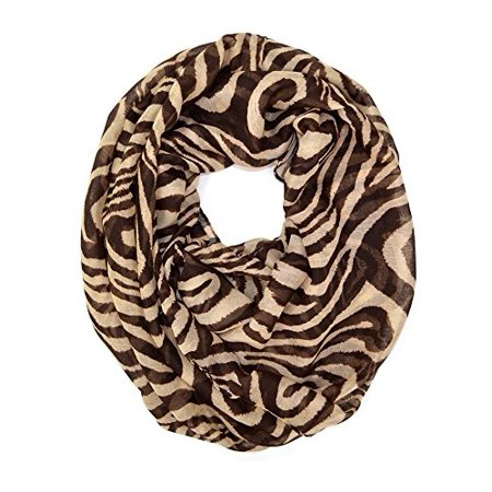 Zebra Animal Print Tote - Zebra Animal Print Soft Infinity Loop Scarf (Brown)
