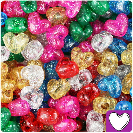 BeadTin Classic Mix Sparkle 12mm Heart Pony Beads (250pcs)