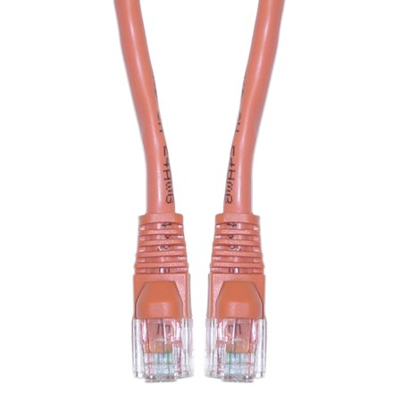 Offex Cat5e Orange Ethernet Crossover Cable, Snagless/Molded Boot, 25 foot