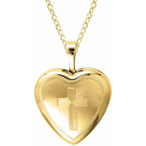 Yellow Gold-Plated Sterling Silver Heart-Shaped with Cross Locket