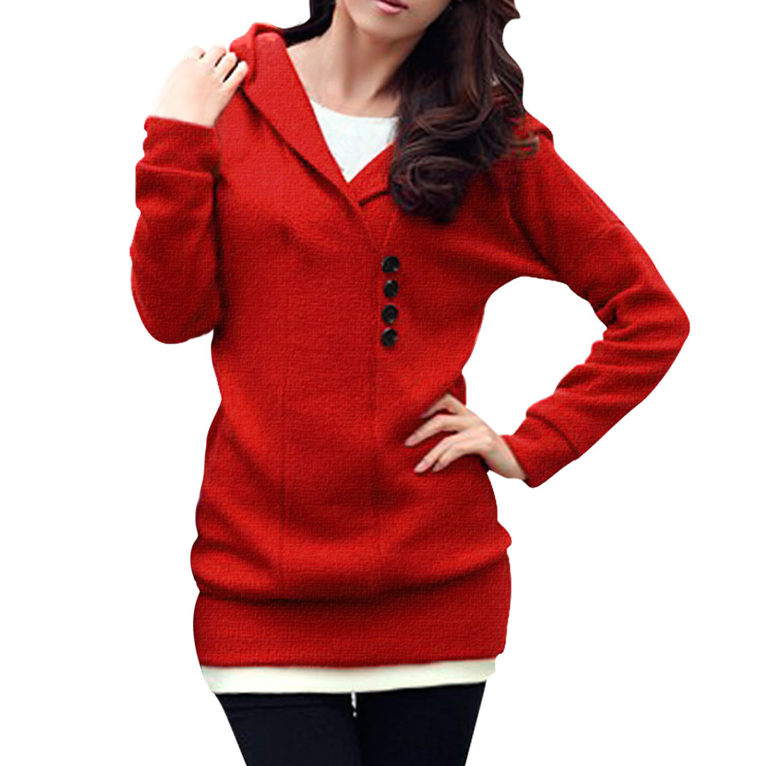 Allegra K Women's Dolman Design Pullover Button Decor Hooded Knit Shirt Red (Size XL / 16)