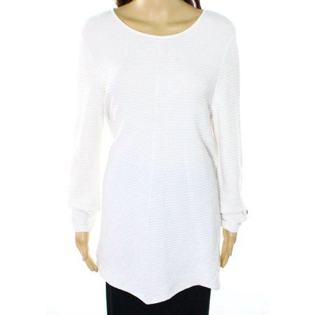 Bright Sweater - Alfani NEW Bright White Womens Size XL Scoop-Neck Tunic Ribbed Sweater
