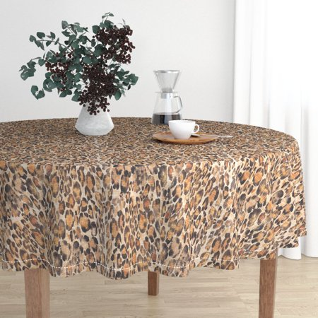 Round Tablecloth Animal Print Exotic Safari Faux Linen Leopard Cotton Sateen - Animal Print Tablecloth