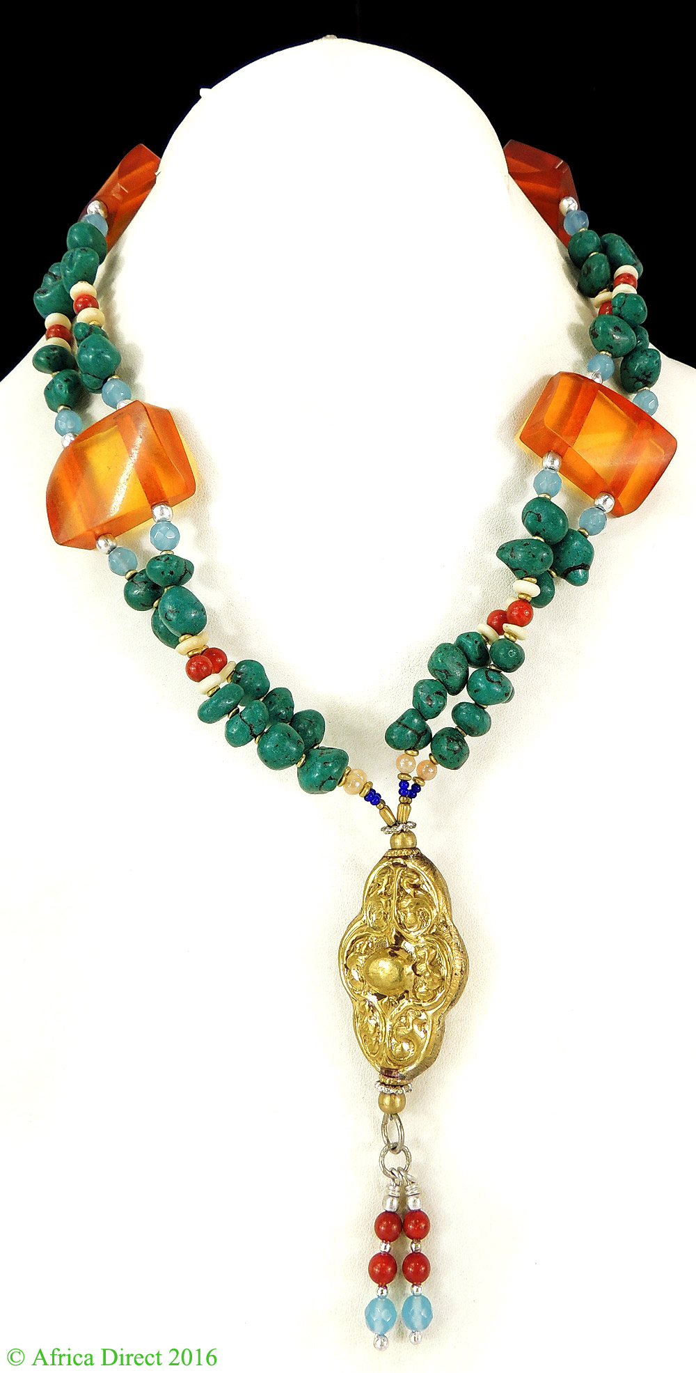 Tibetan Necklace Silver Repoussee Pendant Turquoise Beads by