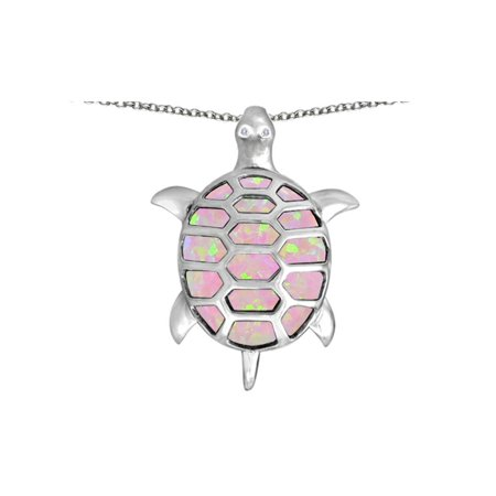 Turtle Pendant - Star K Good Luck Turtle Pendant Necklace with Oval Pink Created Opal in Sterling Silver