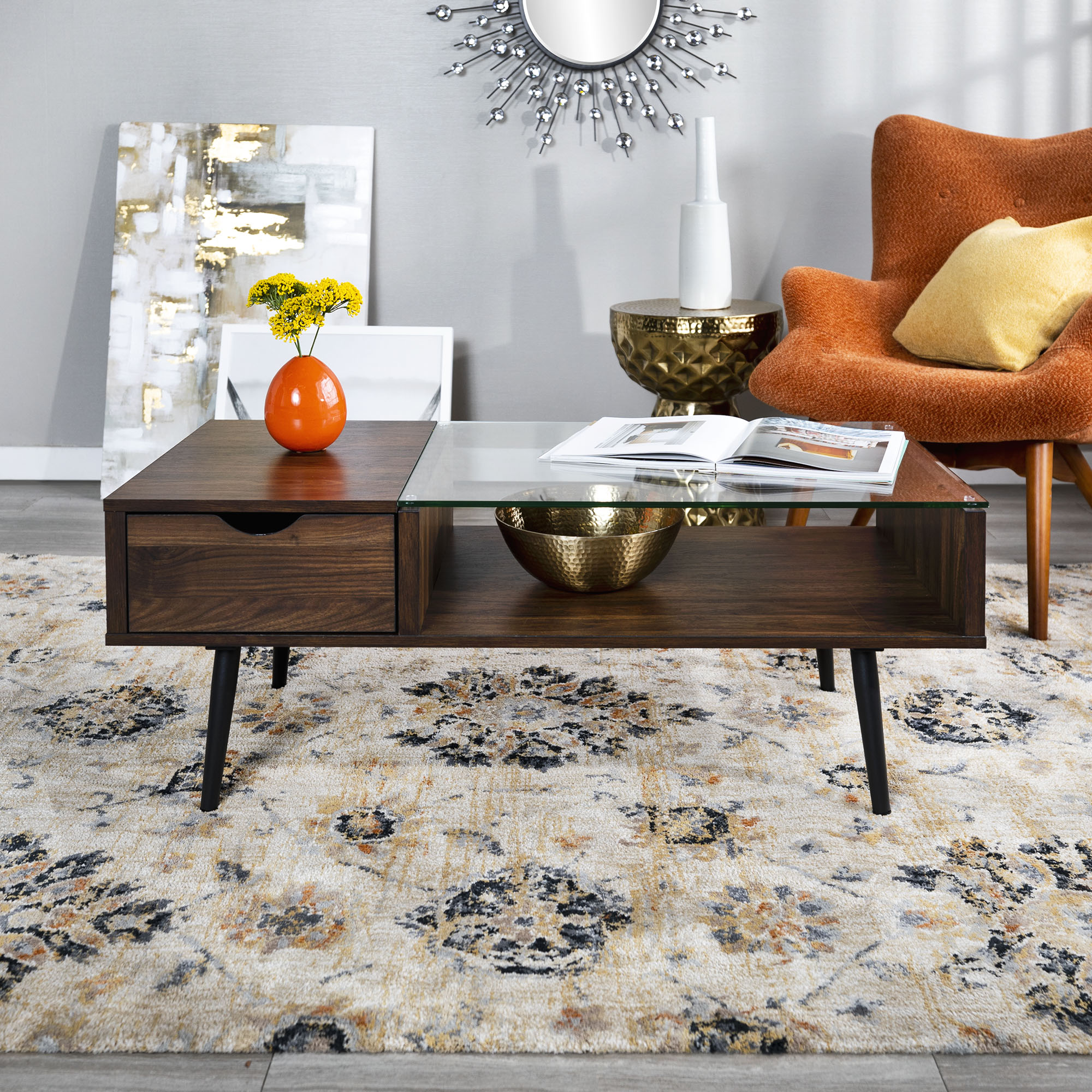 Manor Park Mid-Century Glass and Wood Coffee Table, Dark Walnut