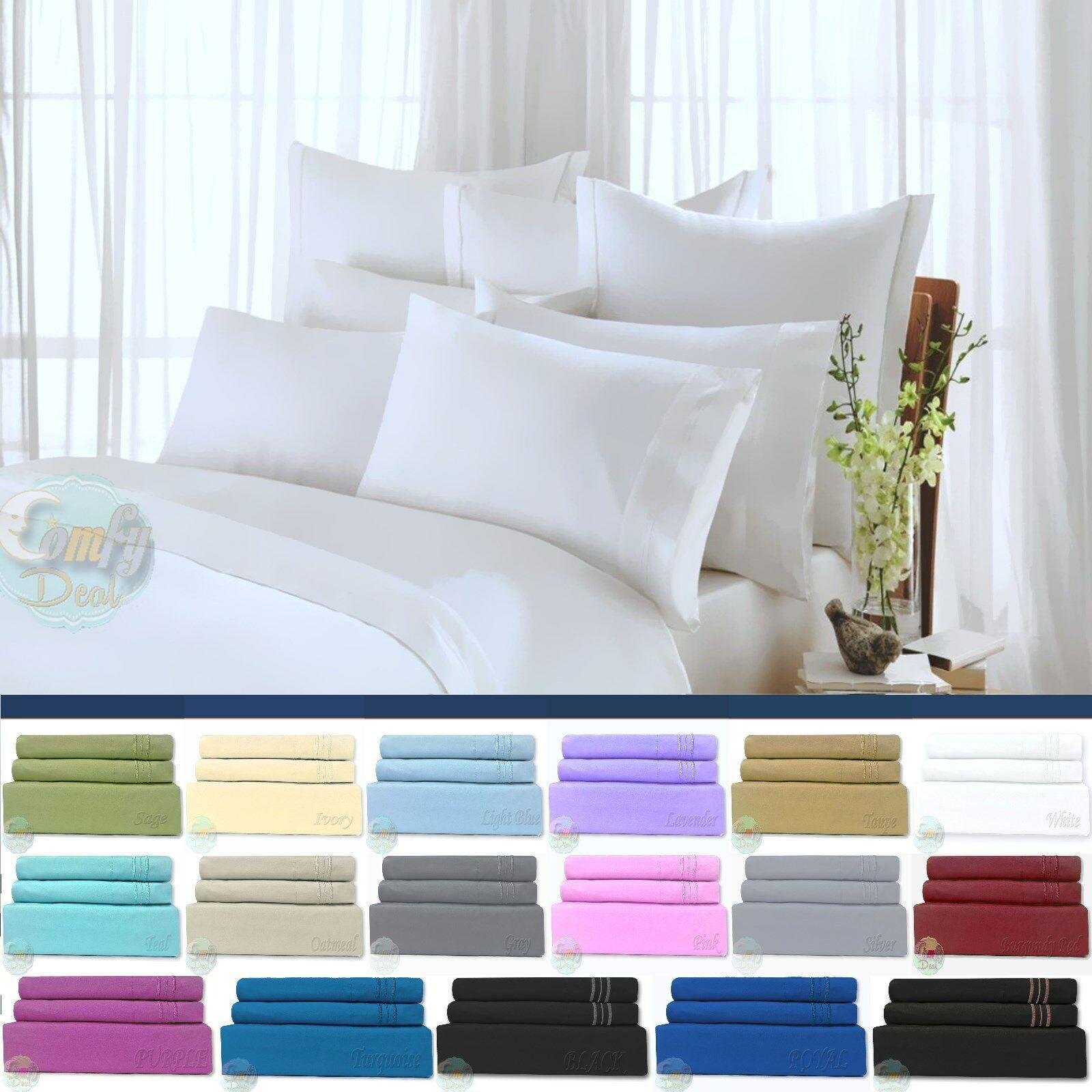 Bed Sheet Set 4 Piece Egyptian Comfort 1800 Count Bedding Deep Pocket Bed Sheet