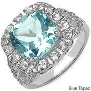 Malaika  Sterling Silver Citrine Gemstone and Topaz Side Stone Ring