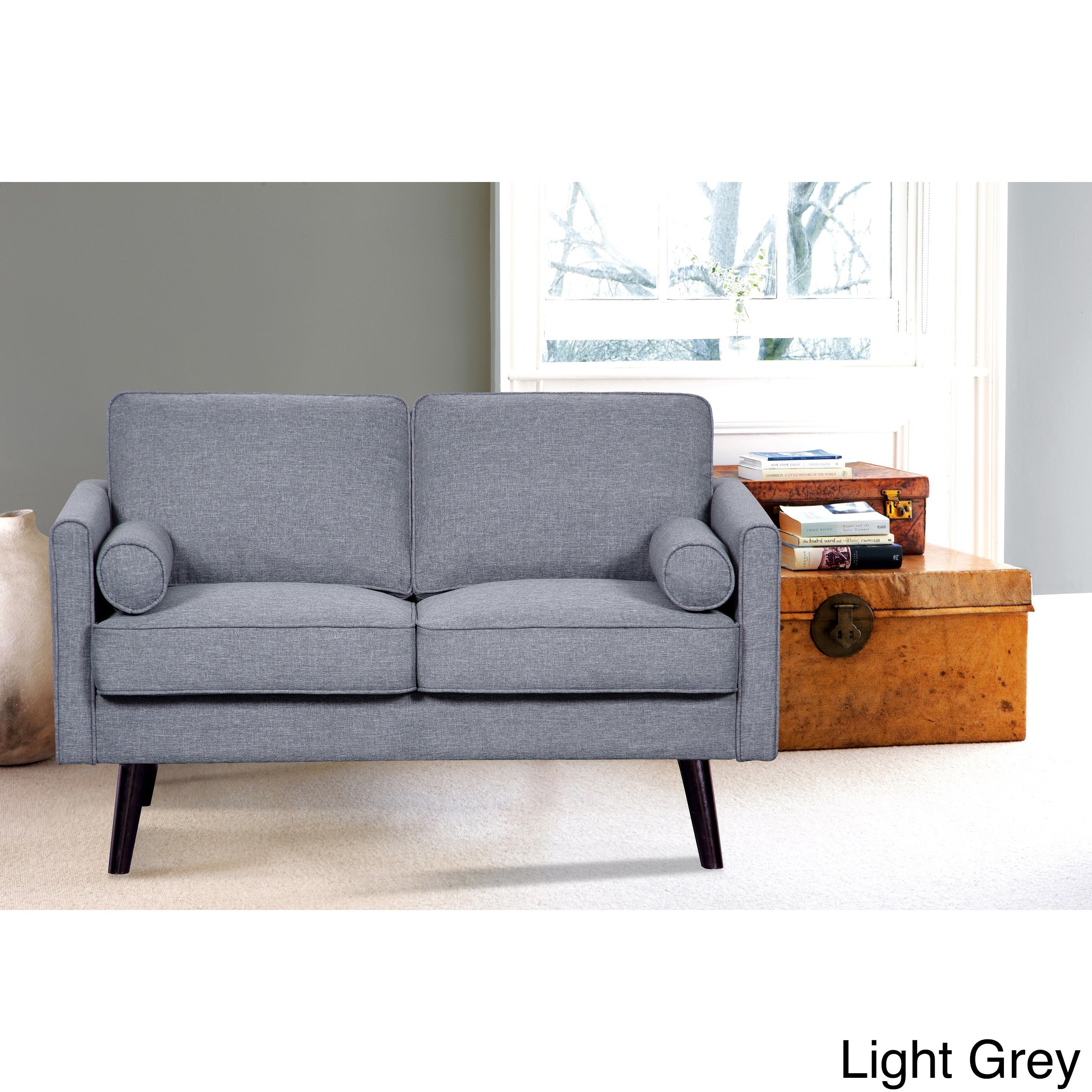 US Pride Furniture Ellis Mid-Century Linen Fabric Loveseat