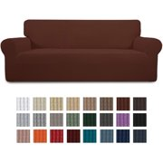 Easy-Going Stretch Oversized Sofa Slipcover 1-Piece Couch Sofa Cover Furniture Protector Soft with Elastic Bottom for Kids, Spandex Jacquard Fabric Small Checks(X Large,Coffee)