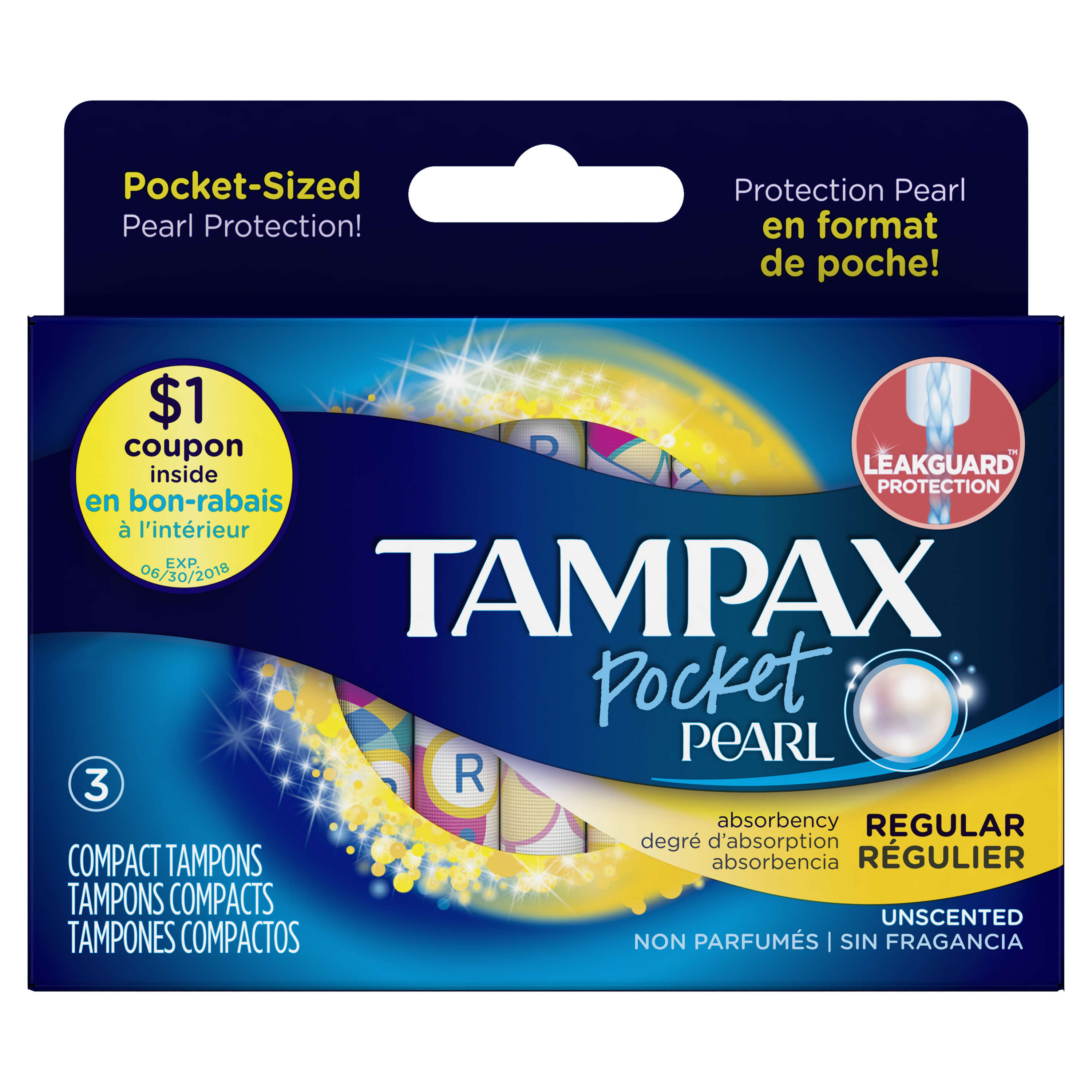 Tampax Pocket Pearl Regular Plastic Tampons, Unscented, 3 Ct