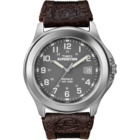Timex Men's Expedition Metal Field Watch, Brown Nylon/Leather Strap