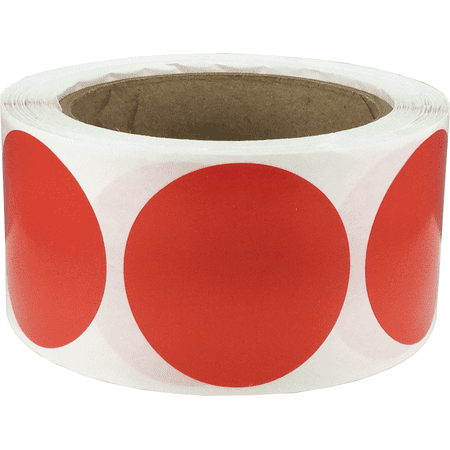 Red Circle Dot Stickers, 2 Inches Round, 500 Labels on a Roll