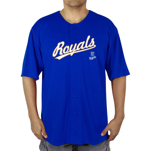 MLB KC Royals Men's Poly Button Down Jersey