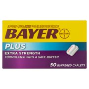 Bayer Plus Extra Strength Buffered Caplets, 50 count