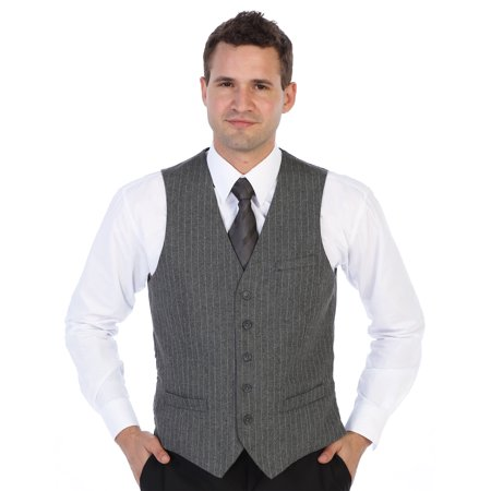Gioberti Men's 5 Button Formal Wool Blend Tweed Pin Stripe Vest Mens Navy Pinstripe Wool Suit