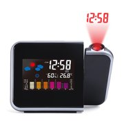 Alarm Clock With Weather Station Thermometer Calendar Date Display 7Colors changing Snooze LED Projection Digital Clock
