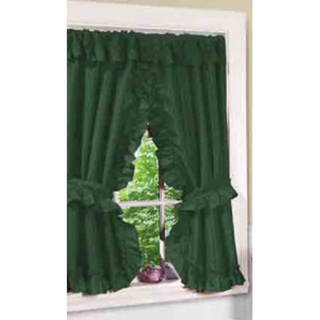"""Lauren"" Window Curtain with Ruffled Valance, Evergreen"