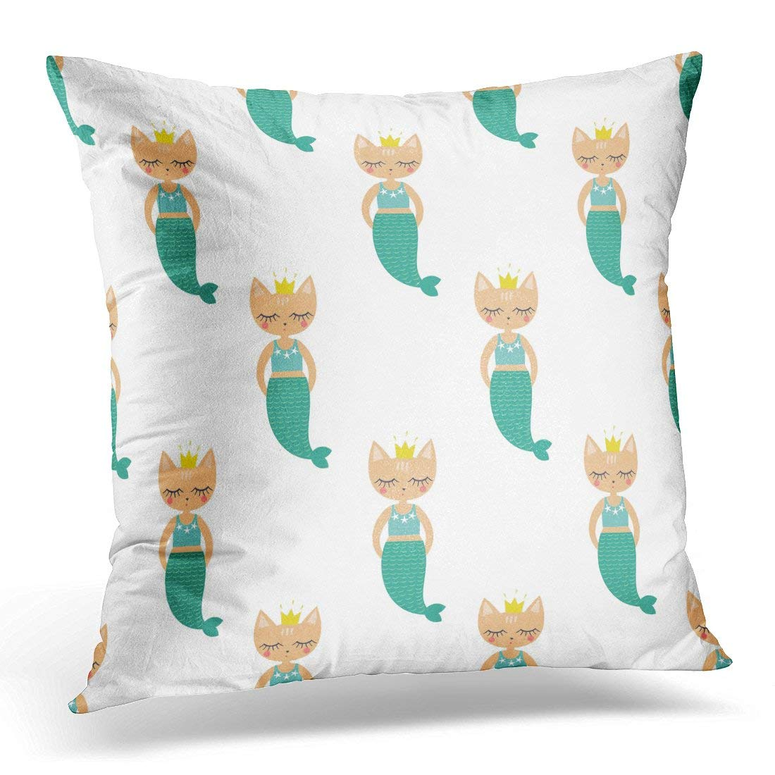 CMFUN Creatures Mermaid Kitten on White Sea Child Drawing Style Cartoon Cat Design Kitty Pillow Case Pillow Cover 20x20 inch